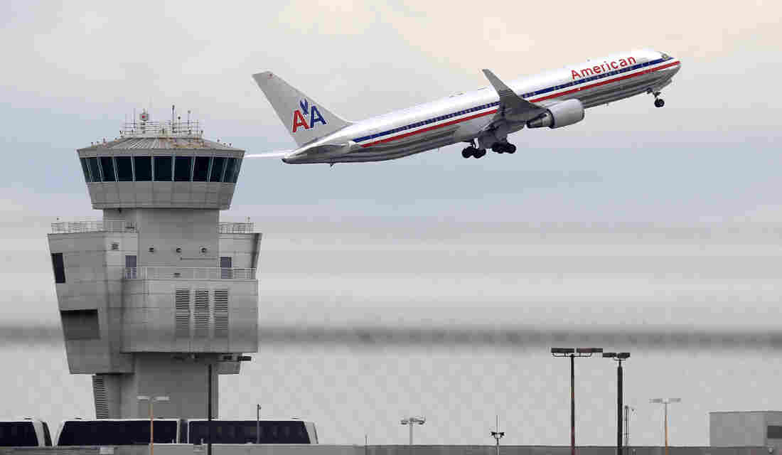 An American Airlines Boeing 767 takes off from Miami International Airport.