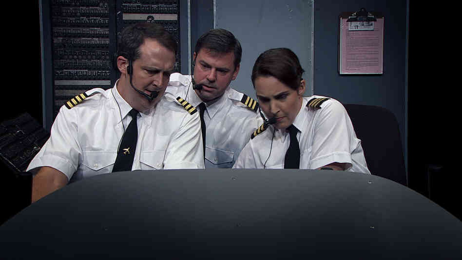 Sam Zuckerman, Noel Dinneen and Nora Woolley play various airplane pilots in Charlie Victor Romeo, a white-knuckle docudrama with dialogue taken from the voice recorders of