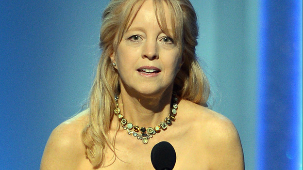 Composer and bandleader Maria Schneider accepts her Grammy Award. Her album Winter Morning Walks earned three awards yesterday at the pre-telecast Grammy ceremony in Los Angeles. (Getty Images)