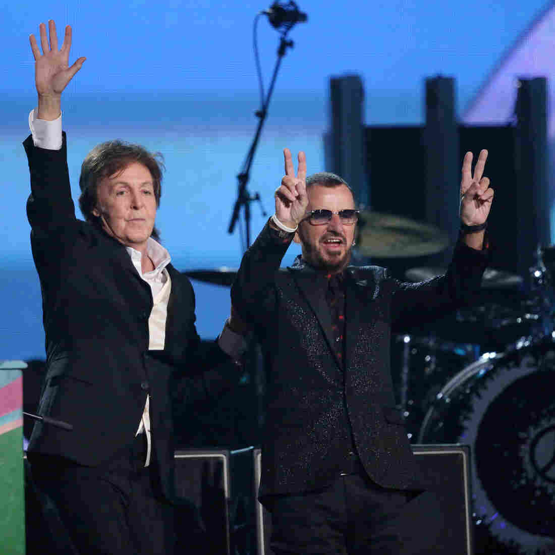 Paul McCartney, left, and Ringo Starr on stage Sunday at the 56th annual Grammy Awards in Los Angeles.