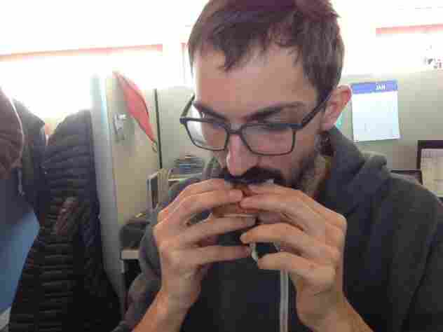Thanks to the small size of the slider, Ian only needs 6/10ths of his fingers to eat one.