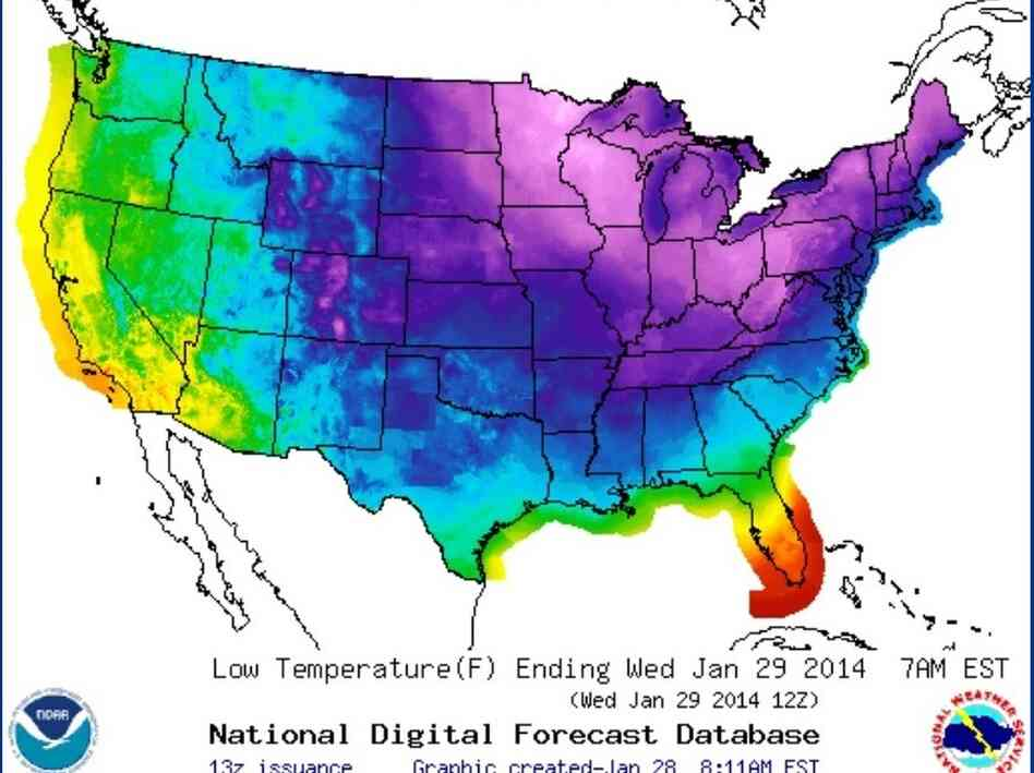 Tuesday night's forecast for the lower 48 states shows temperatures below freezing (the shades of blue and purple) across most of the nation.