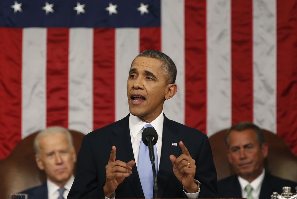 President Obama delivers his State of the Union address to a joint session of Congress on Tuesday. Obama discussed a range of topics including education, income inequality, climate change and immigration reform. (Getty Images)