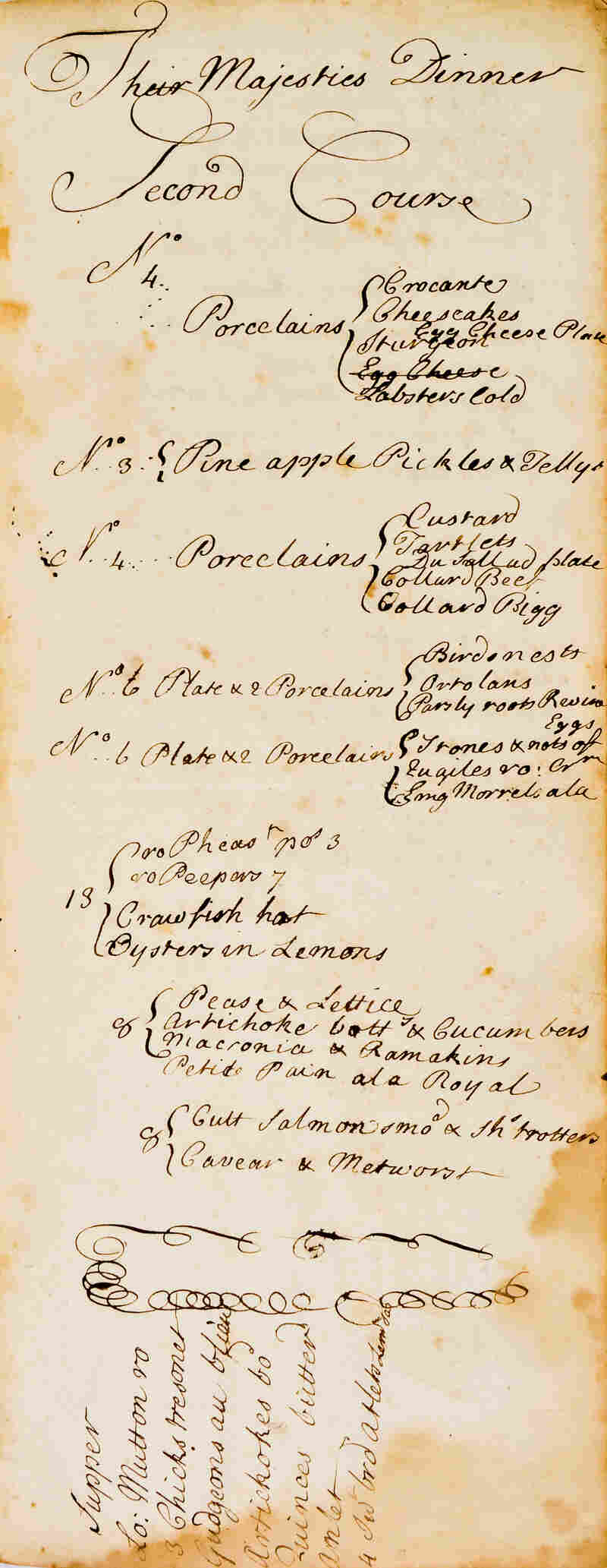 A page from King George II's manuscript menus from September 1737.