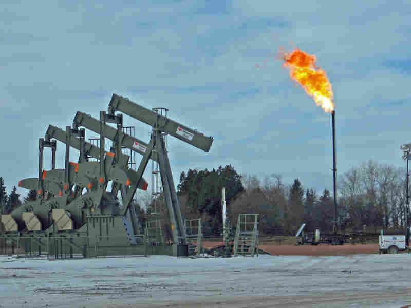 Gas flaring near Keene, N.D. Analysts estimate that almost 30 percent of the gas being produced in the state is burned off.