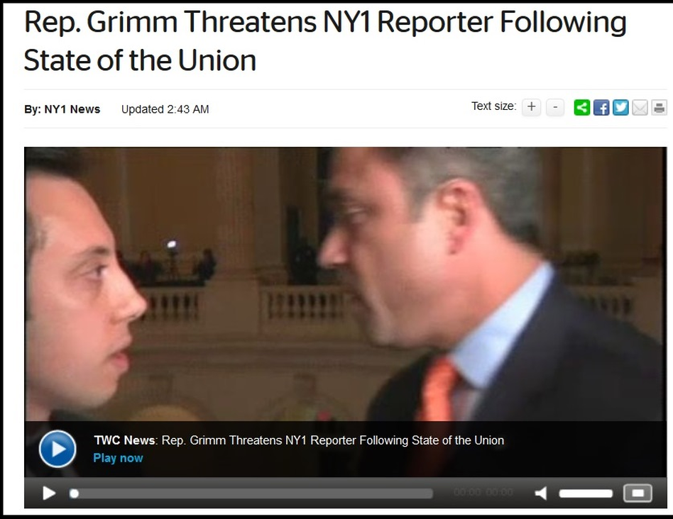 Rep. Michael Grimm, R-N.Y., right, as he confronted NY1 reporter Michael Scotto on Tuesday in the Capitol.