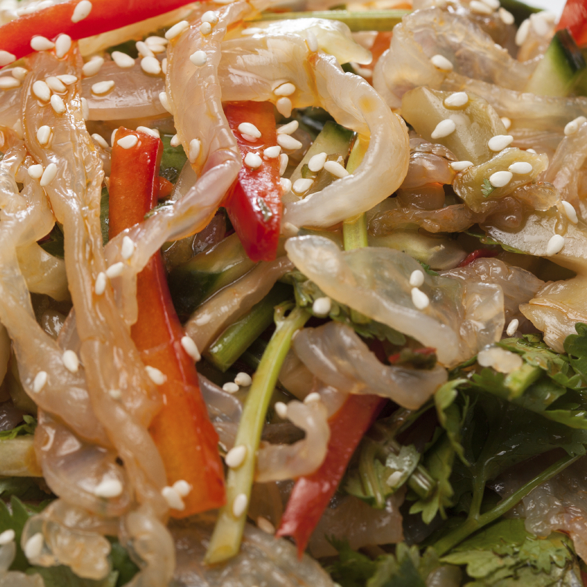 An Asian-style salad of jellyfish, red pepper and coriander.