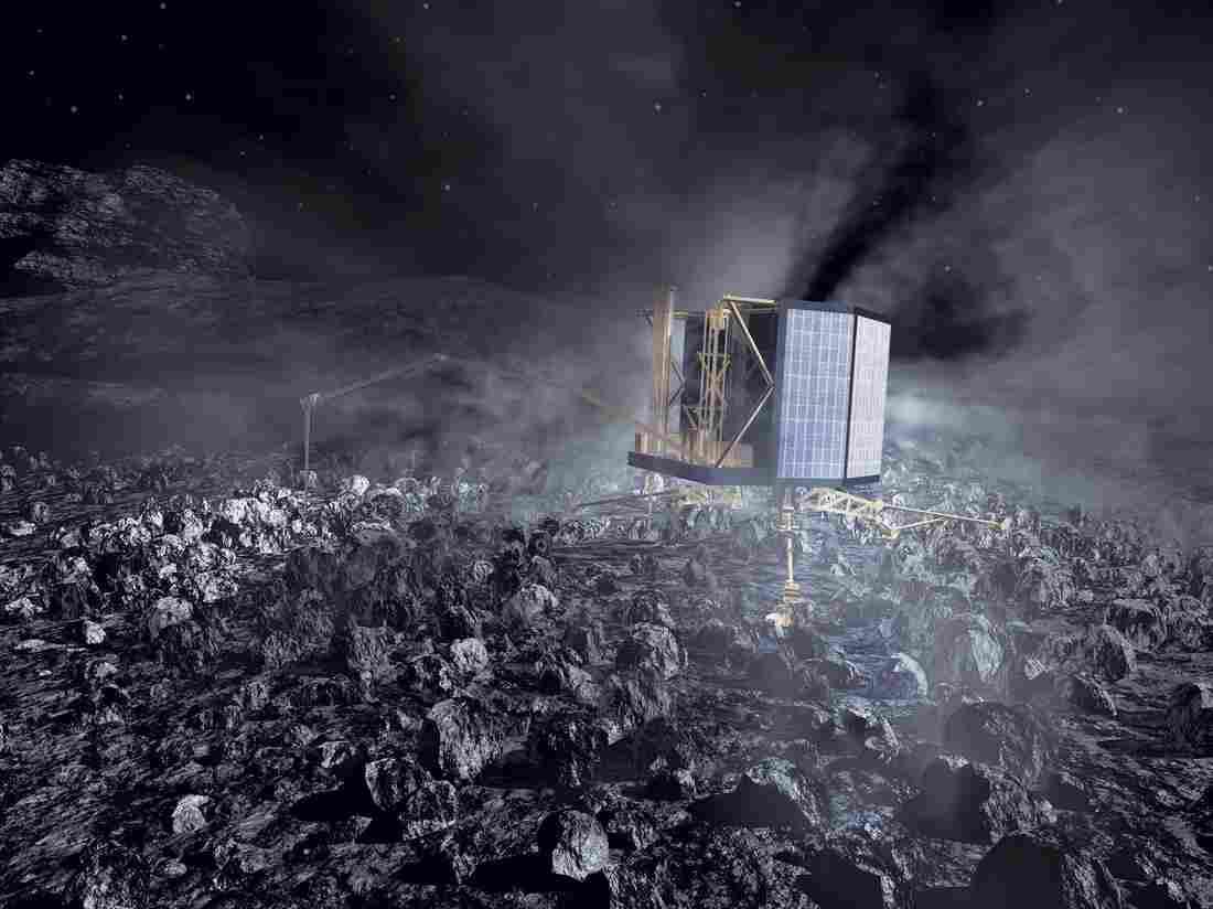 An illustration of what the Philae lander will look like at work on Comet 67P/Churyumov-Gerasimenko.
