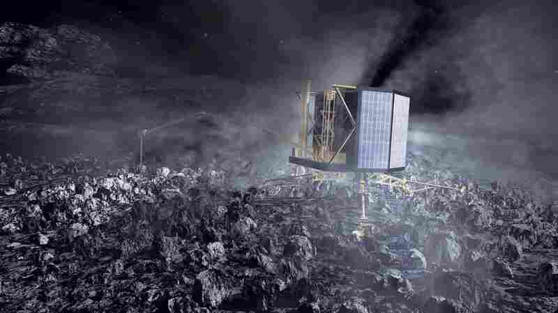 An illustration of what the Philae lander will look like at work on Comet 67P/Churyu