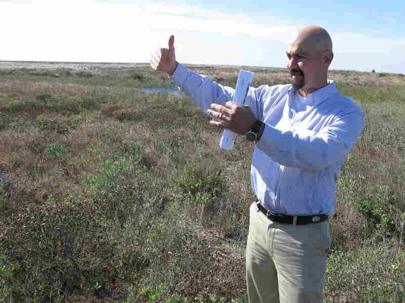 Gilbert Salinas, executive vice president of the Brownsville Economic Development Council, stands in the area  where SpaceX might build its first commercial orbital launch site.