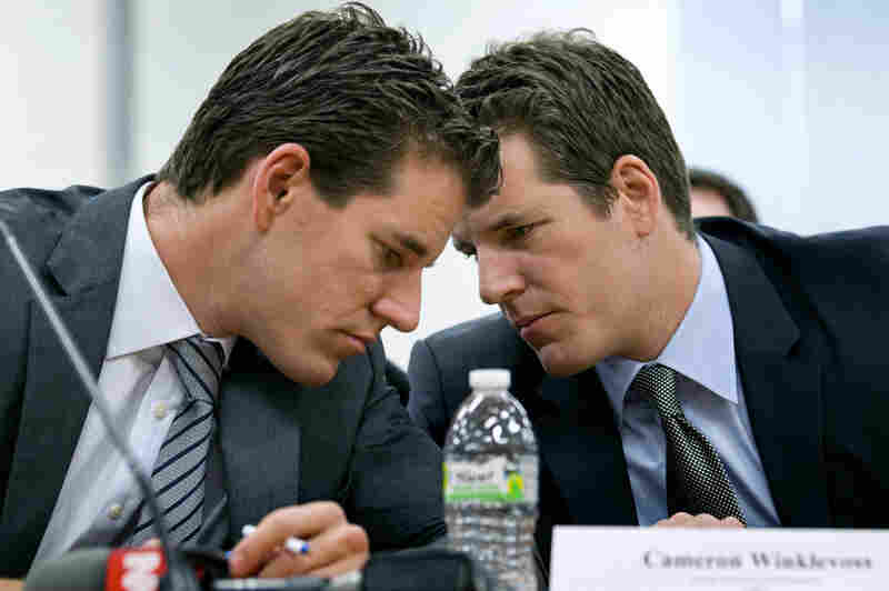 Cameron (left) and Tyler Winklevoss testified Wednesday at a hearing about virtual currencies held by the New York Department of Financial Services.
