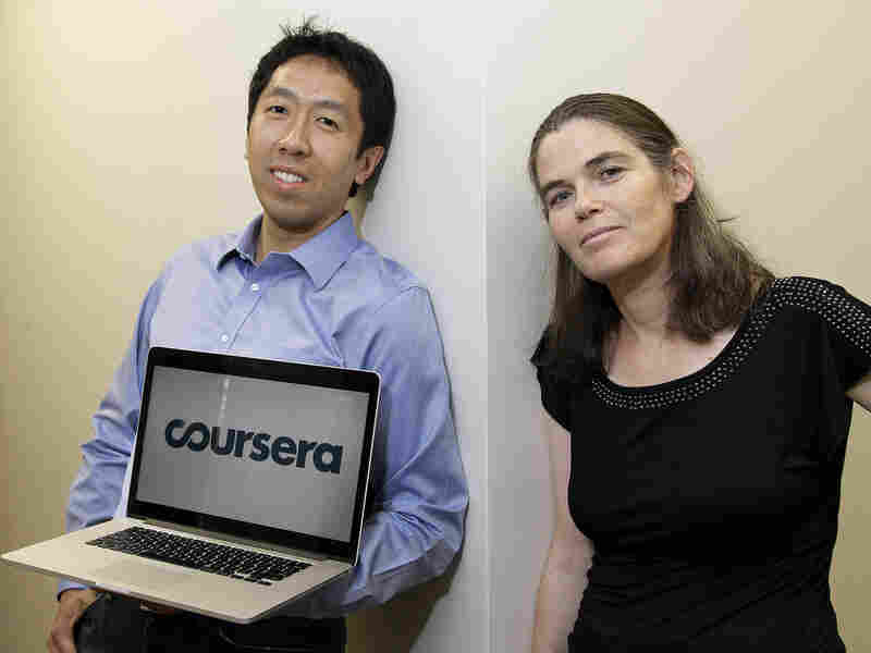 Andrew Ng and Daphne Koller, Stanford University computer science professors who started Coursera, pose for a photo at the Coursera office in Mountain View, Calif., on Aug. 2, 2012.
