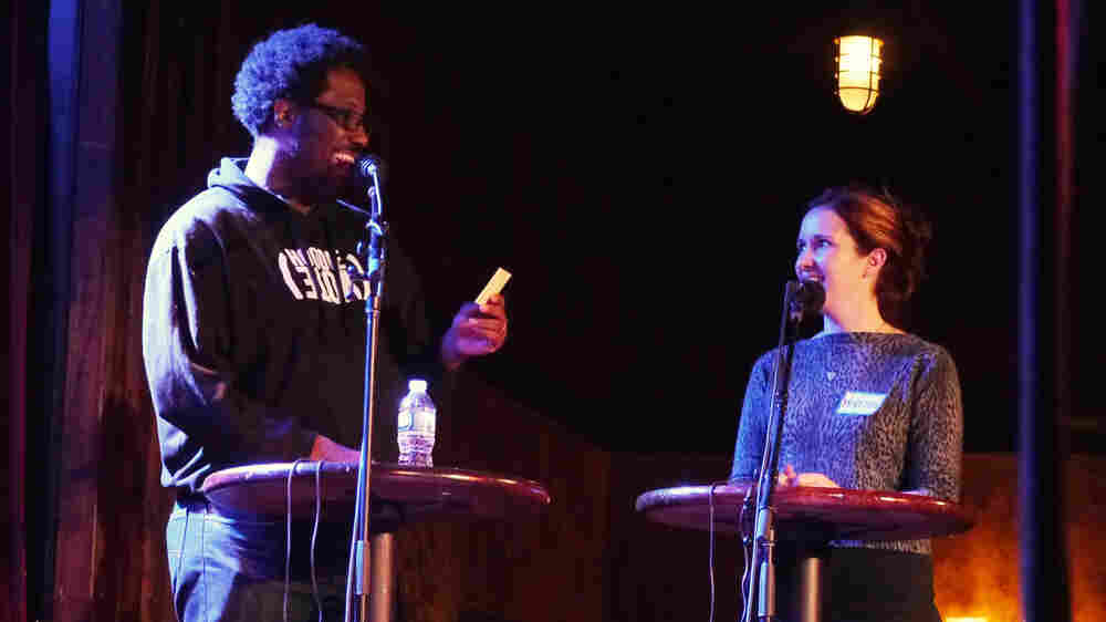 Very Important Puzzler W. Kamau Bell describes comedians who have also had their own TV shows for a contesant, on stage at The Bell House in Brooklyn, N.Y.