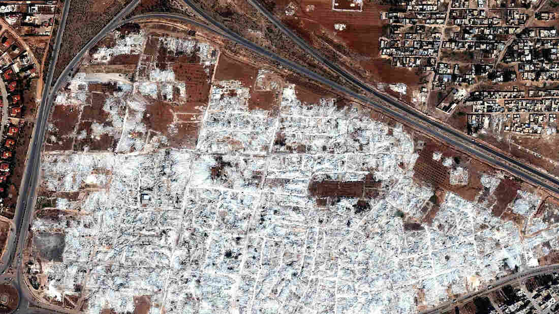 The complete demolition of the Masha' al-Arb'een neighborhood in the Syrian city of Hama. The group Human Rights Watch says the Syrian government army destroyed at least seven neighborhoods since the middle of 2012 because they were opposition strongholds.