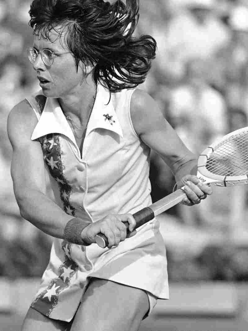 Billie Jean King, seen here in 1977, learned to play tennis on the public courts near her Long Beach, Calif., home.