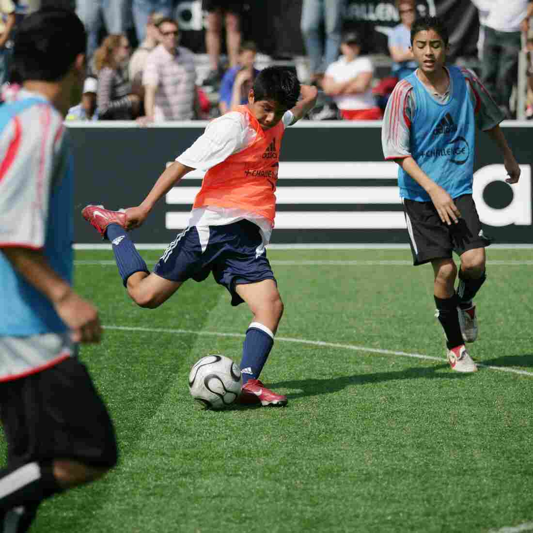 A West Coast team player kicks the ball during a match at the Adidas Challenges America's Youth Soccer Stars tournament in Venice, Calif.