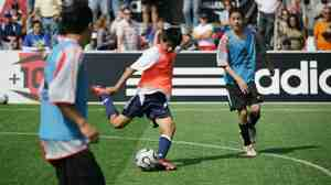 A West Coast team player kicks the ball during a match at the Adidas Challenges America's Youth S