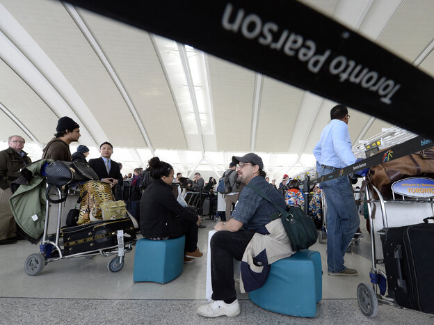 Travelers at Pearson International Airport in Toronto earlier this month. At an unnamed airport, Canada's spy agency tested a program that allowed them to track