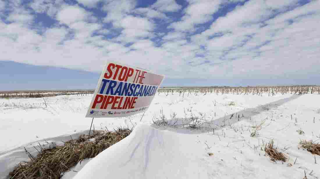 A protest of the Keystone XL pipeline last March along its proposed route near Bradshaw, Nebraska.