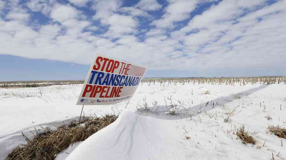 A protest of the Keystone XL pipeline last March along its propo
