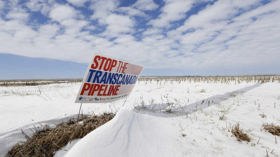 A protest of the Keystone XL pipeline last March along its proposed route near Bradshaw, Nebraska. (AP)