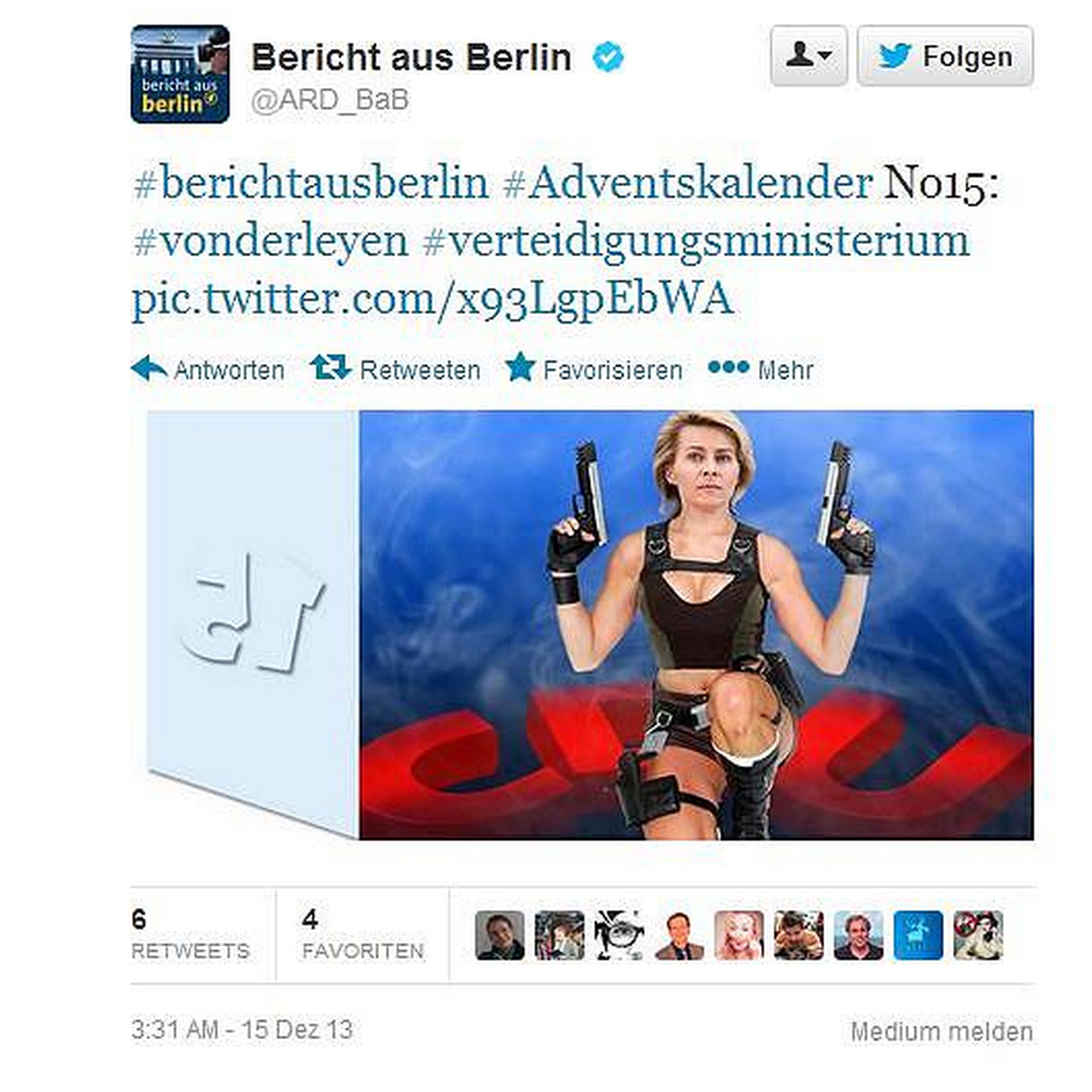 A photo-shopped tweet of Ursula von der Leyen after she was named Germany's first female defense minister in December.