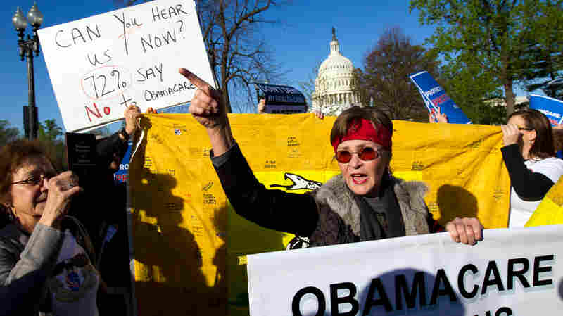 Linda Door protested outside the U.S. Supreme Court as it began hearing arguments on the constitutionality of the Affordable Care Act in March 2012.