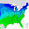 Dark blue: It's going to take a foot or more of snow to close schools. Green: Any snow's going to shut things down.