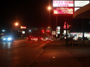 A cold night in the city center of Williston, N.D. Law enforcement agencies are concerned that rapid changes in the region have created conditions conducive to organized crimes like sex trafficking.