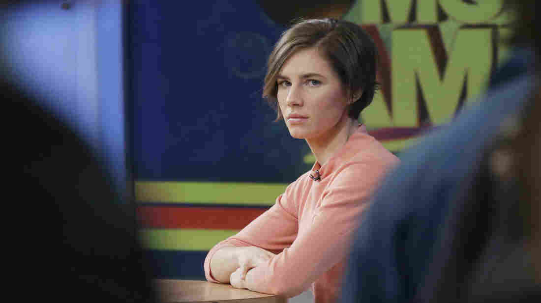 "Amanda Knox waits on the set of ABC's Good Morning America on Friday in New York. Knox said she will fight the reinstated guilty verdict against her and an ex-boyfriend in the 2007 slaying of a British roommate in Italy and vowed to ""never go willingly"" to face her fate in that country's judicial system."