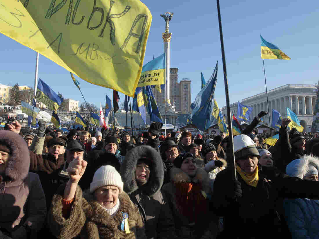 Opposition supporters take part in a rally in Kiev's Independence Square, the epicenter of the country's current unrest, in Ukraine, on Sunday.