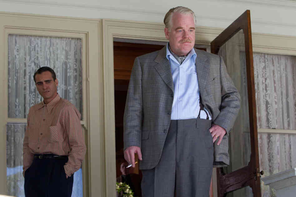 Joaquin Phoenix (left) and Hoffman in the 2012 drama The Master.
