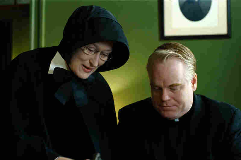 Hoffman portrays Father Flynn and Meryl Streep portrays Sister Aloysius in the 2008 film adaptation of Doubt.