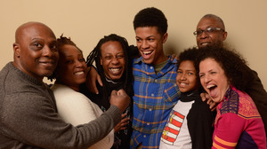 Two families are featured in American Promise: Tony and Stacey Summers (left) stand next to their son, Seun. Filmmakers Michèle Stephenson and Joe Brewster are with sons Idris and Miles (right).