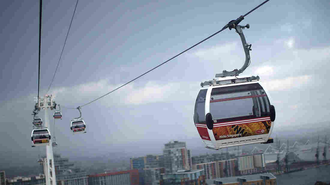 This cable car line in London, shown on Jan. 27, was built in time for the 2012 Summer Olympic Games in the city. It is taking 35 percent fewer visitors than predicted.