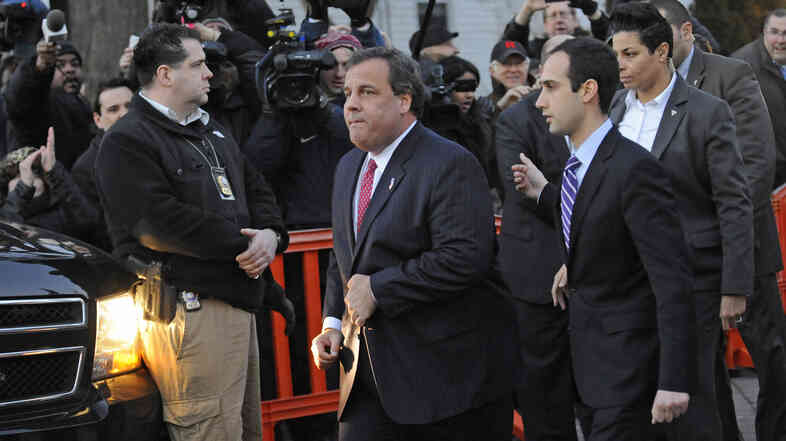 New Jersey Gov. Chris Christie leaves the Fort Lee, N.J., City Hall on Jan. 9.