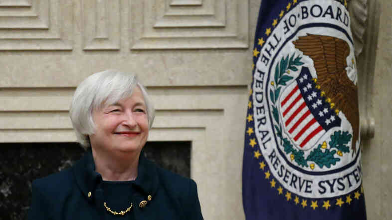 Janet Yellen smiles Monday before being sworn in as Federal Reserve Board chair at the Federal Reserv