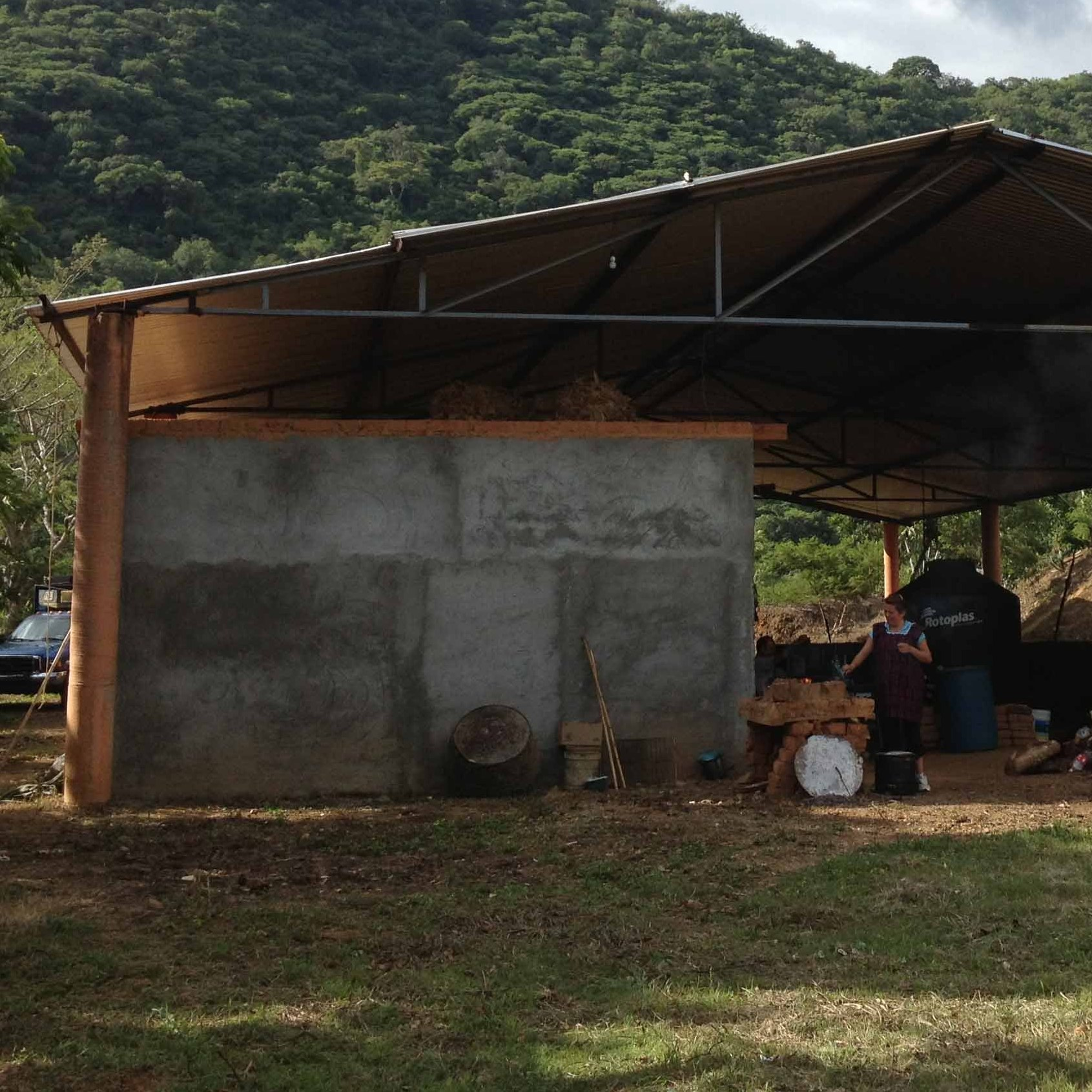 The 'palenque,' the workshop where they make mezcal, is at the bottom of the slopes the agave plants grow on.