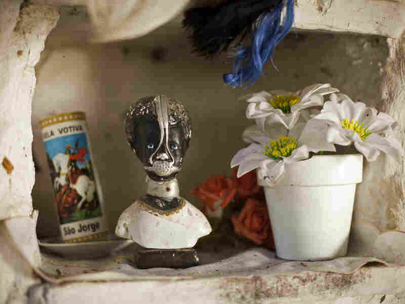 Slave Anastacia, a figure venerated by many as a saint in Brazil, decorates a public space in the Quilombo Sacopa in Rio de Janeiro.