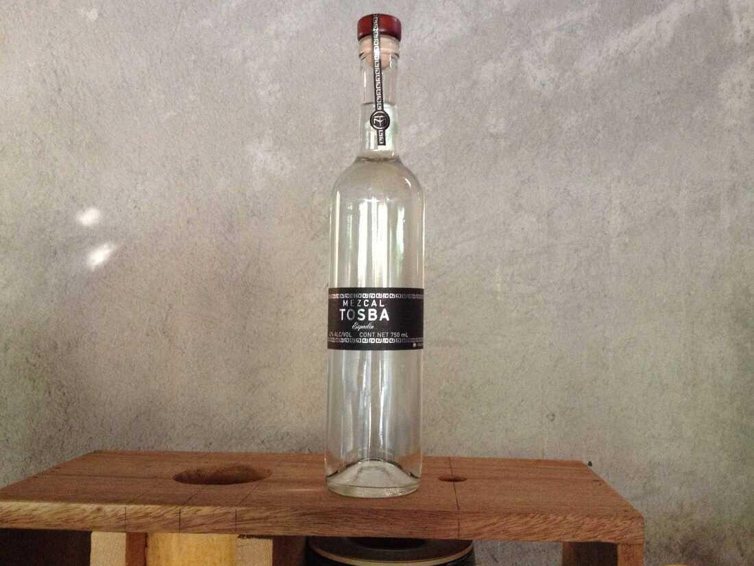 A bottle of Mezcal Tosba.