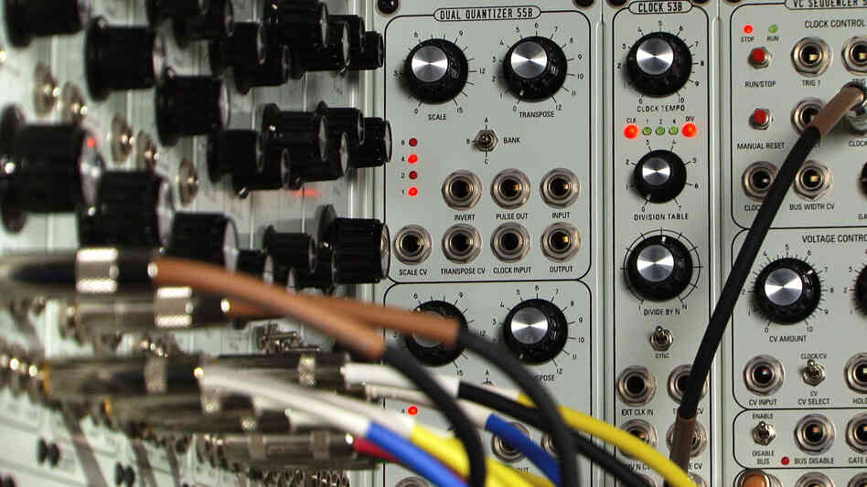 Up close and personal with a Modcan modular synthesizer.