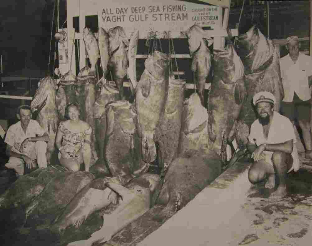 """Fishing pride circa April 1957 — several """"Big Ones"""" were nearly as large as the men who caught them."""