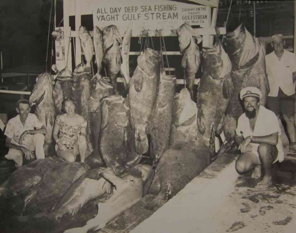 "Fishing pride circa April 1957 — several ""Big Ones"" were nearly as large as the men who caught them."