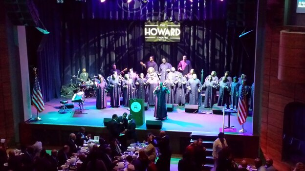 Patrick Lundy and the Ministers of Music gospel choir perform Tuesday at the Republican National Committee's awards lunch at Washington's Howard Theatre.