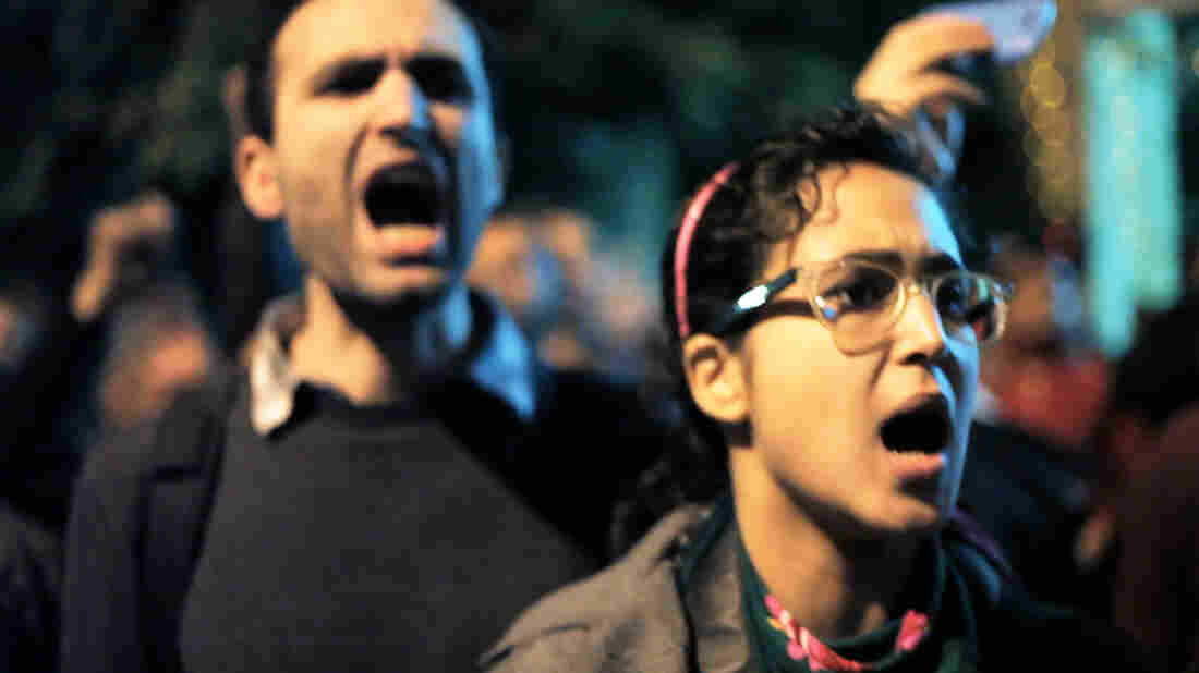 Khalid Abdalla, an activist and actor (The Kite Runner, Green Zone and United 93), and Ahmed Hassan protest in Jehane Noujaim's Oscar-nominated documentary, The Square.