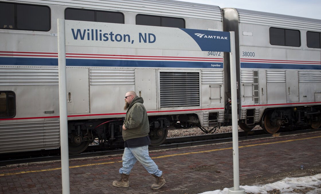Amtrak trains on the Empire Builder route, which stops in Williston, N.D., have been facing long delays.  Shannon Stapleton/Reuters/Landov