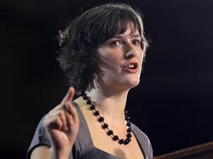 Sandra Fluke introduces President Obama at a campaign event in Denver on Aug. 8, 2012.