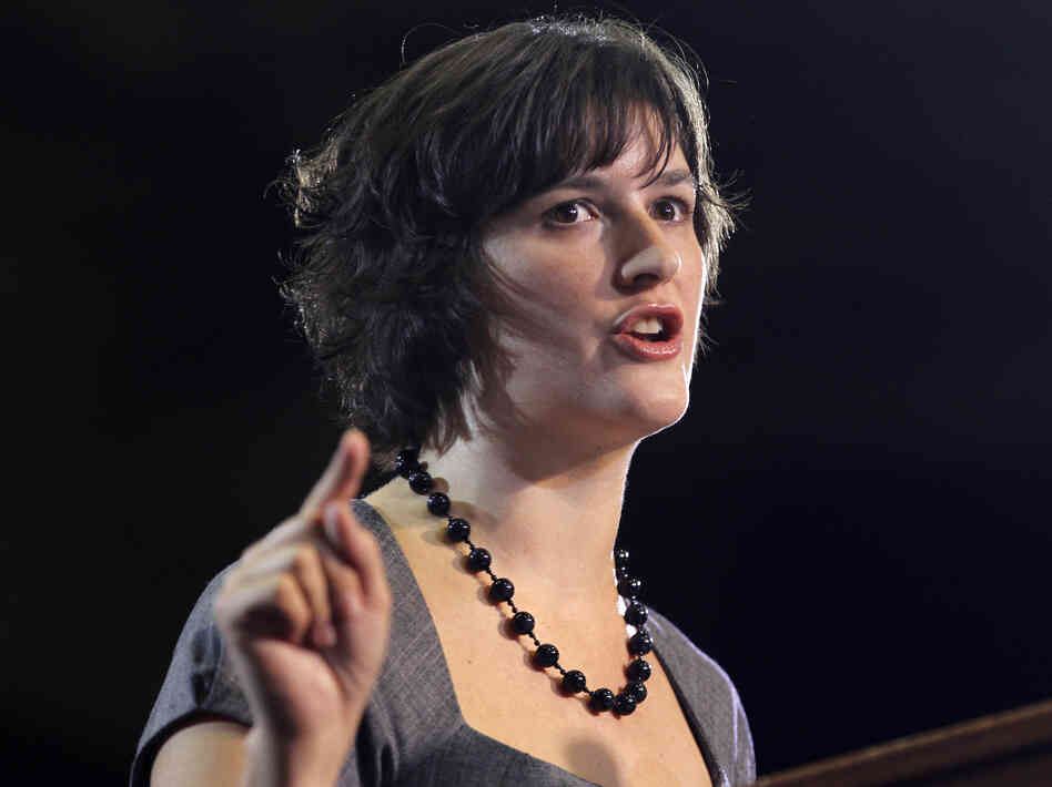 Sandra Fluke introduces President Obama at a campaign event in Denver on Aug. 8, 2012.