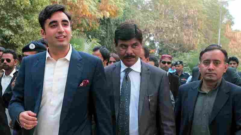 Bilawal Bhutto Zardari (left), son of assassinated Prime Minister Benazir Bhutto, arrives for a festival at Moenjodaro in southern Pakistan on Feb. 1. The event was seen as a political coming-out party for Bhutto, whose family has prominently featured in Pakistani politics for decades.
