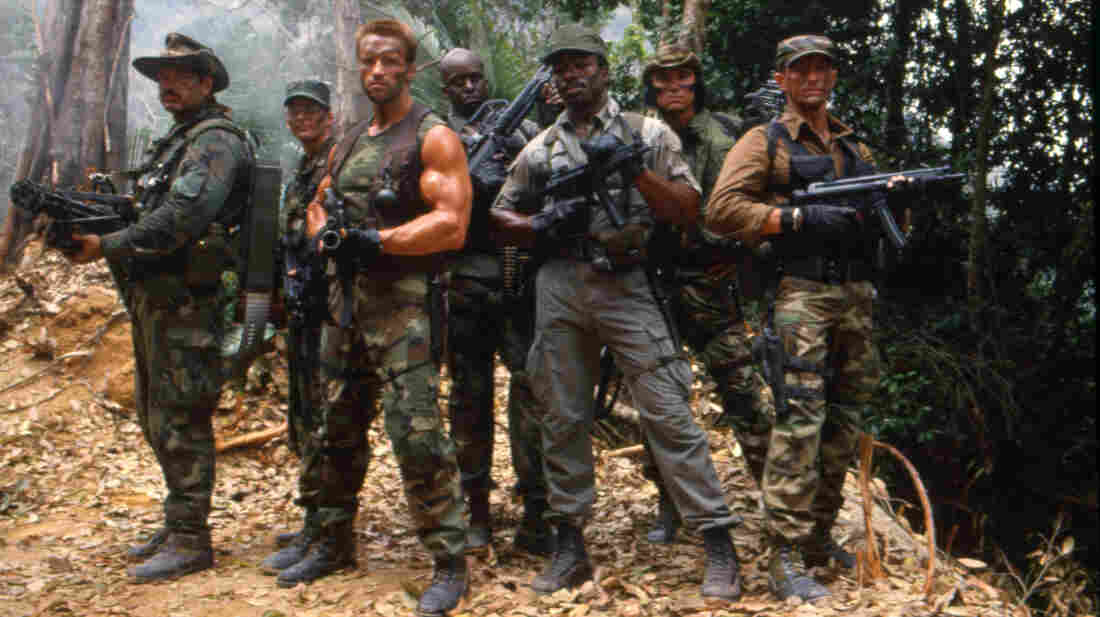 Three of the seven cast members shown here on the set of the 1987 film Predator would later run for governor in their home states. Two of them, Jesse Ventura and Arnold Schwarzenegger, won. Sonny Landham (second from right) lost.